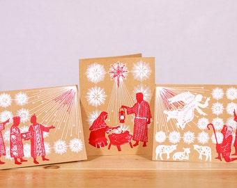 Nativity Creche Christmas Card Set of 3 with wise men, shepherds, angel, Baby Jesus, Mary, Joseph, and religious manger scene