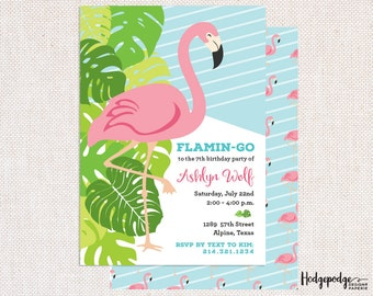 Pink Flamingo Birthday PRINTABLE Invitation