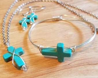 Wirewrap Turquoise Howlet Cross Set