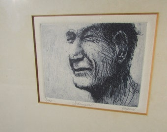 """Signed and Numbered Etching of """"Shrimper"""" 3/90 by Dale Rayburn, Mississippi Artist Framed"""