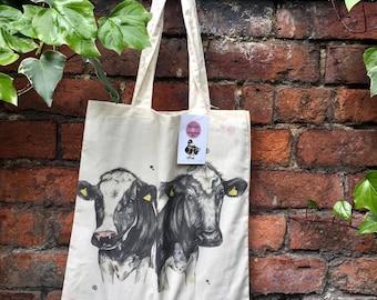 Black and white cows cotton tote bag