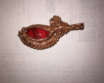 "Gorgeous lampwork  wire wrap copper pendant, red ""dragon eye"" Designer jewellery , Statement jewellery"