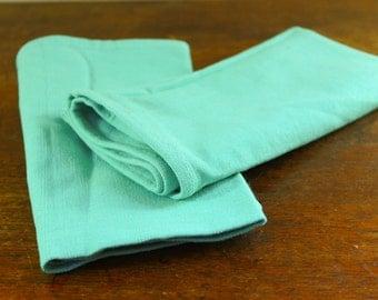 Turquoise Cloth Napkins, Set of 2, Vintage Table Setting, Vintage Linens  - Aqua - Teal -