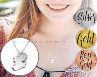 Ireland Necklace, I Love Ireland necklace, Irish pride necklace, Ireland map necklace