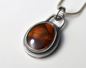 Fire Agate Necklace - Fire Agate Pendant - Gemstone Pendant Necklace - Fire Agate Jewelry - Oval Pendant - Minimal Gemstone Necklace