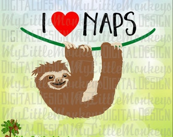 I Heart Naps Sloth Design Digital Clipart Instant Download Full Color Jpeg, Png, SVG, DXF EPS Files