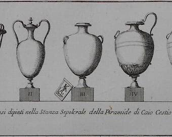1692 Pietro Bartoli Engraving of Sepulcher Vases in the Pyramid of Caius Cestius, Rome Italy. Antique. Over 300 years old