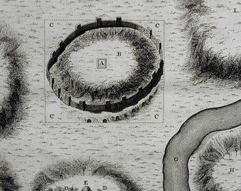 """1750 Ancient Rome Map During Early Years of Romulus. """"Premier Plan de Rome pendant les premiers Annees du Regne de Romulus"""" By Bossuet"""