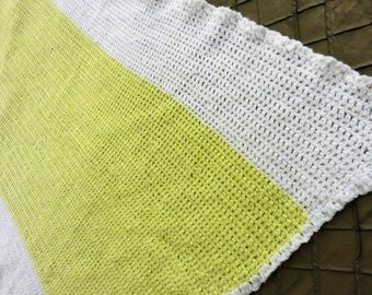 Yellow and White Baby Afghan, Baby Blanket, Vintage Baby Items, Summer Blanket, Yellow and White Baby Blanket, Lightweight Baby Afghan