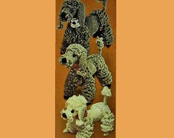 Vintage Toy Crochet Poodle Family Pattern Instructions
