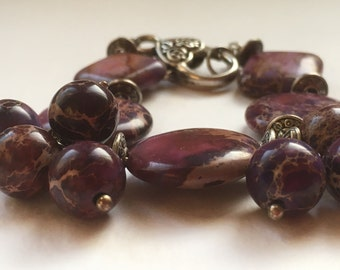Handmade Chunky Purple and Cherry Natural Stone Bracelet Bunch of Beads Bracelet