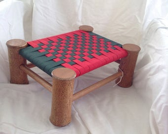 "S-119  Small wooden stool - 12 3/4""x 10"" and 5 1/2"" high with red and green shaker tape seat. Perfect for young child or just your feet!"