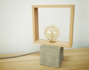 Modern concrete wood table square lamp, Modern lamp, Geometric lamp, Square lamp, Concrete, Desk lamp, Concrete light, Table lamp CCMCN