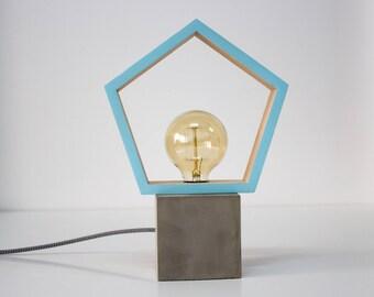 Modern concrete wood table lamp blue, Concrete, Modern lamp, Geometric lamp, Square lamp, Desk lamp, Concrete light, Table lamp CCMFA
