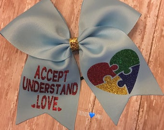 Accept, understand, love- autism bow