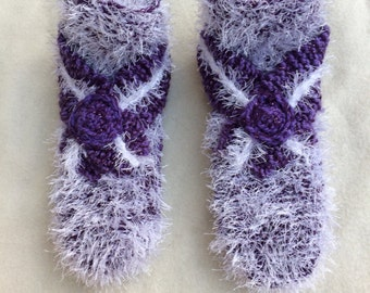 Hand knitted slippers / knitted slippers / shoes purple / purple slippers