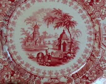 Romantic Staffordshire, Red Transferware, English Transferware, Red Staffordshire plate, English Cottage, Farmhouse Decor, Vintage Dining