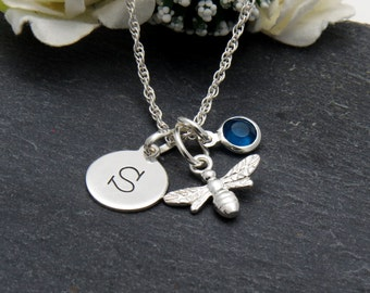 Silver Bee Initial Necklace, Sterling Silver Bumble Bee Jewelry, Birthstone Jewelry, Custom Initial Silver Necklace, Birthstone Charm
