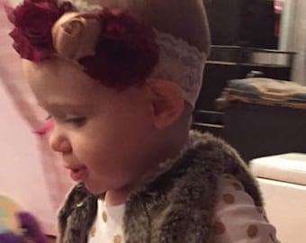 Lace baby headband - flower headband