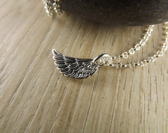 Sterling silver petite angel wing pendant~angel wing necklace~silver angel wing~silver angel wing charm necklace~silver angel jewellery