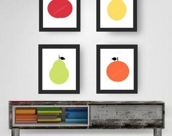 Instant Download Printable Art, Four Minimalist Fruit Prints  – Apple, Pear, Orange & Lemon