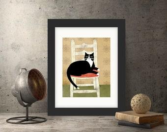 "Still Life Folk Art Collage Giclee Print, ""Sox"""
