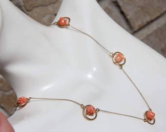 """14K 14KT 585 solid yellow gold coral tulips 15"""" long 4.4grams necklace amazing"""