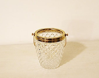 Vintage 50s ice bucket real Crystal with gold embossing round diamond