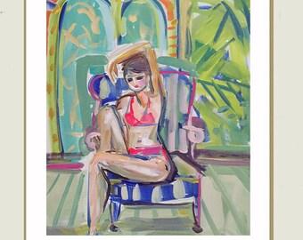 Swimsuit Figure, Abstract Portrait Painting, canvas,  woman portrait