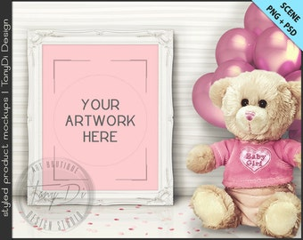 It's a Girl | Nursery Table Teddy Bear Pink Balloons Styling | 8 PNG scene | Empty 8x10 Frame Styled Mockup T8 | White Black Ornate Frame