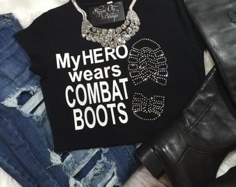 My Hero Wears Combat Boots, Army Wife, Air Force Mom, Army Mom, Marine Mom, Navy Mom, Military Mom, Gift for Mom
