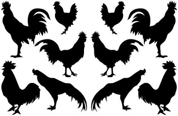 10 Roosters Wall Decals Stickers Many Colors Available Great for Kitchens Bedrooms Dorm Room Removable Custom Made Easy to Install Rooster