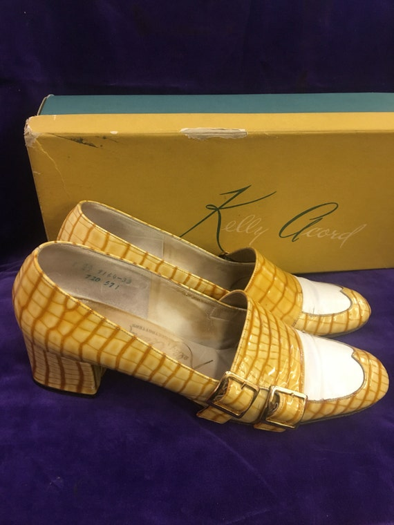 Mustard Alligator Patent Ladies Wing Tip Kelly Acord