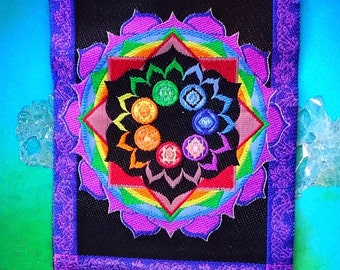 Stunning Seven Chakra Embroidered WALL TAPESTRY HANGING With Lotus And Merkaba, Pewter Edges