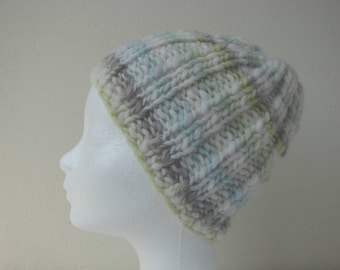 Knit hat soft green blue white teen warm comfortable chunky winter hat cosy knit no seams multicolor thick and thin woolen acrylic yarn