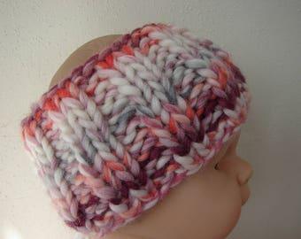 Hand knit girl ear warmer pink purple gray white kids head warmer knit in round no seams thick yarn warm chunky head band toddler girl