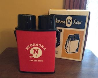 Vintage Nebraska Huskers Thermo Serv/Vintage Thermo Twin Thermos/Double Thermos/Husker Game Day/Husker Tailgate