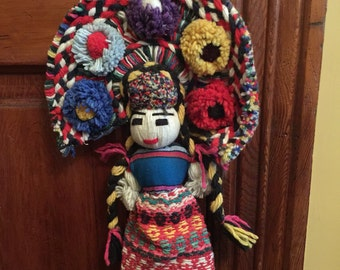 Vintage Aztec Mayan Woven Doll/Mayan Yarn Doll/Vintage Mexican Doll