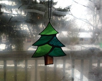Stained Glass Christmas Tree, Glass Ornament, Stained glass Suncatcher, Christmas Ornament