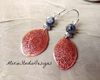 Labradorite Earrings, Artisan Earrings, Copper Earrings, Mixed Metal Earrings, Bohemian Earrings, Boho Earrings, Etched Copper Earrings