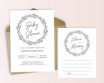 Gray Wreath Baby Shower Invitation and Advice Cards - Printable DIY Cards PDF - Invite Set - Charcoal Grey Wreath -Instant Download -#GD2903