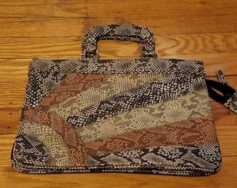 Vintage 1980s Black Brown and Tan Snakeskin Purse Clutch Handbag