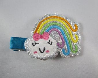 NEW sparkly rainbow felt embroidered hair clip