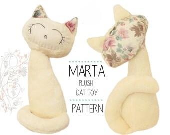 Stuffed Cat sewing pattern, Plush toy kitten, Cat Pattern, Cute Kitty, PDF