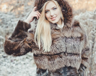 "Real fox fur jacket ""Sable"""