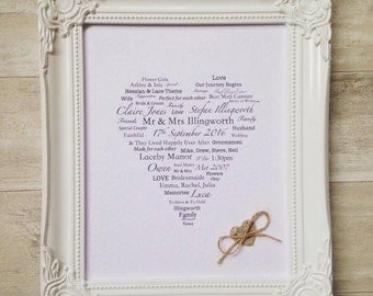 Heart Print, Shabby Chic, Vintage wedding gift, family gift, personalised heart print