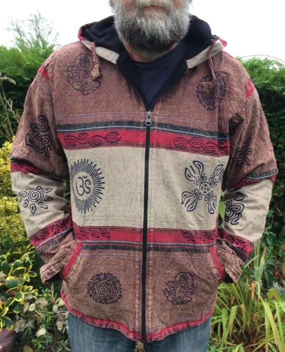 Men and Women's Brown Grey Fleece Lined Colorful Stonewash Jacket With Block Print Hippy Boho Unisex M L XL XXL