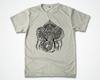Ganesh Yoga Shirt Elephant Tattoo Screenprint Tshirt for him silkscreen Workout T-shirt gift for him