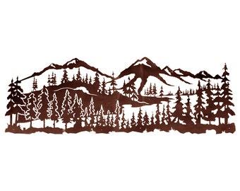 """Mountain Scene HUGE 7ft! Laser cut wall art 84""""x 28"""""""
