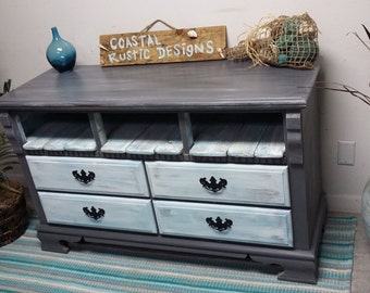 SOLD TV Stand / Dresser * Shabby Coastal Chic